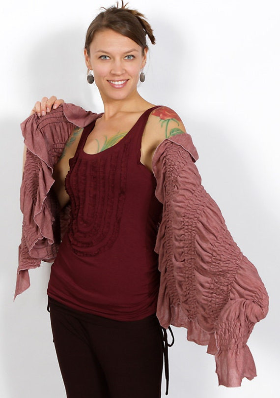 Ruched Ruffle Shawl in Dusty Rose