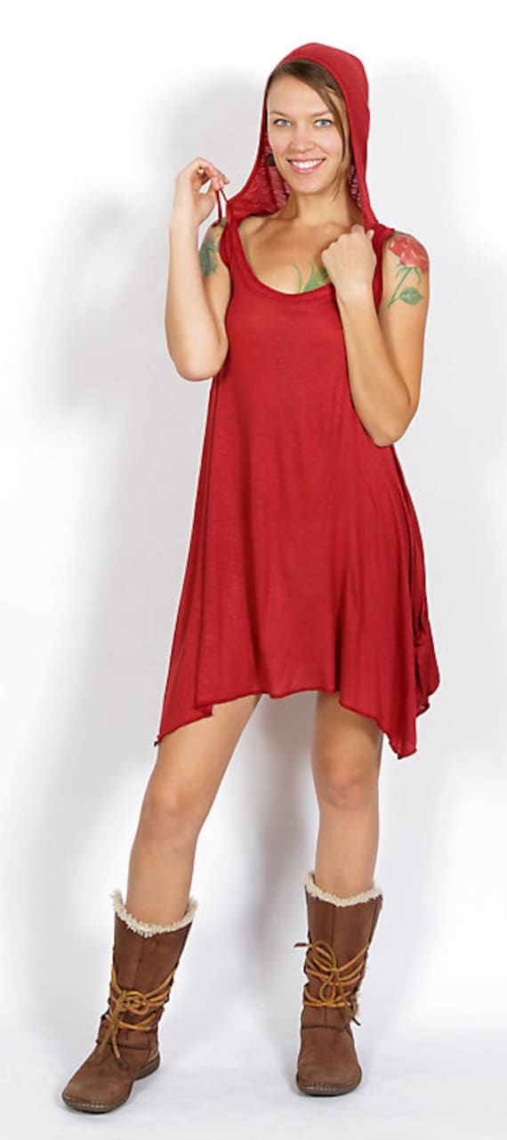 Pixie Hoodie Sleeveless Dress in Red for Womens Festival Wear Wholesale