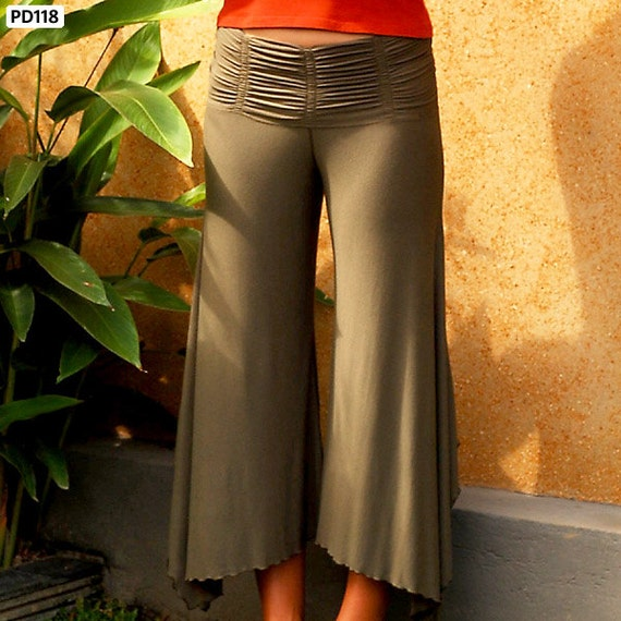 Suzanne Ruched Comfortable Wide Leg Pants in Olive Green for Womens Boho Chic Fall Fashion Wholesale