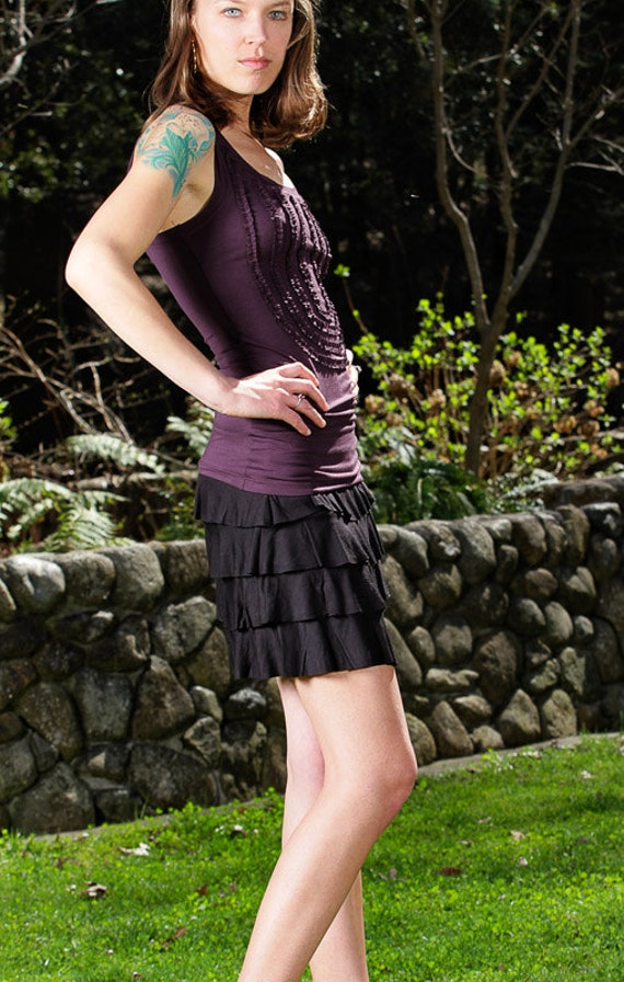 Spring Sale! Ruffle Mini Skirt In Black for Womens Resort Wear by Paramita Designs Yoga Wear