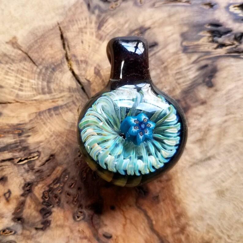 Glass  pendant necklace ~custom millefiori and latticino borosilicate glass ~ mandala ~ heady glass ~ bone and brass beads  by Derek Jones