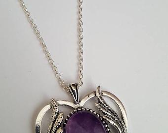 Winged heart pendant etsy stunning amethyst winged heart pendant aloadofball Gallery