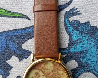 Globe wrist watch, map watch, world map wrist watch, fashion watch
