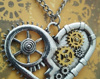 Steampunk Silver Tone Cog And Gear Heart Necklace.
