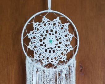 Handmade Gypsy Lace Jade Dream Catcher White Lace And green Goose Feathers Made To Order