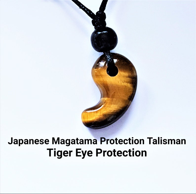Japanese Shinto Protection Malachite Magatama  Necklace Or Choker Pendant  On A Free Fully Adjustable Black Waxed cord