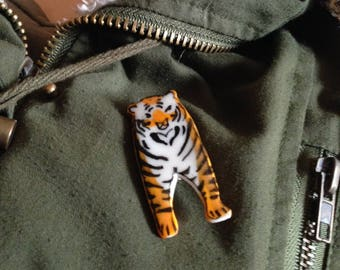 Handmade and finely painted Porcelain Tiger Brooch