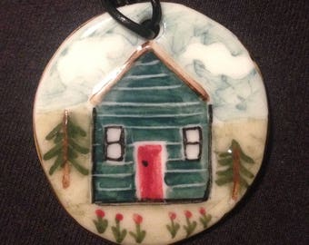 Porcelain Cabin in the Woods / Shed pendant. Handmade with care in my little garden studio. A perfect for Tiny homes fans / allotment lovers