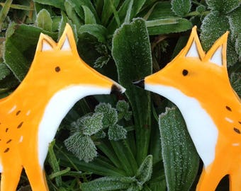 A Pair of  Porcelain Fox Hanging Decorations - Special Offer !!!