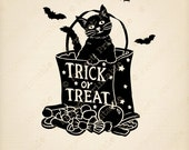 HALLOWEEN Fabric Transfer - Trick or Treat Cat - Instant Digital Download Printable Party Clipart Clip Art Graphics - T-shirt Print Iron On