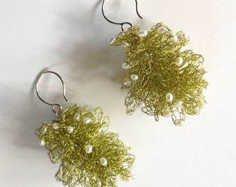 Earrings, Wire Crochet Dangles with seed pearls