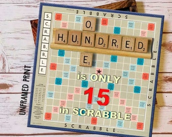 100th Birthday Gift Scrabble Board Print Customized For Him Her