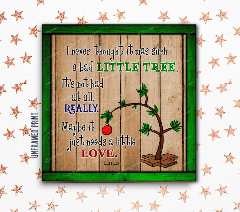 Peanuts Christmas Quote Art Print Rustic Charlie Brown Christmas Tree Gift For Charles Schultz Fan Mantel Decor Family Holiday Gift