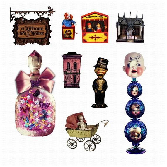 Antique Dollhouse Scrapbook Kit Dollhouse Clipart Paper Doll Etsy