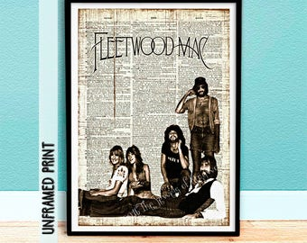Fleetwood Mac Dictionary Page Art - Stevie Nicks - Christmas Gifts - Gift for Fleetwood Mac Fan - Gift for Him - Gift for Her - Music Poster