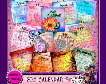2018 Printable Monthly Calendar - 8.5x11 inch Wall Calendar - Christmas Gift Idea for Her - Housewarming Gift - Hostess GiftHome Decor