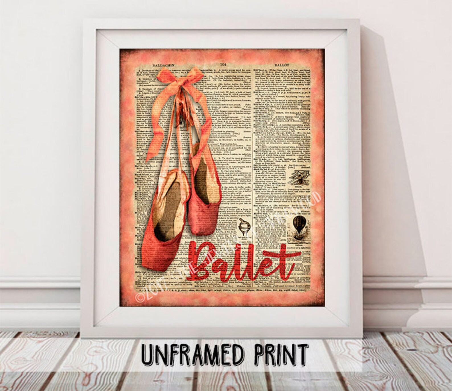 ballet shoes art print christmas gift marilyn monroe quote art dance studio art gift for her ballet shoes dictionary art dance t