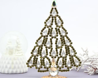 Vintage tabletop christmas tree Rhinestone Christmas Tree Vintage Rhinestones jeweled christmas tree decoration Czech jeweled christmas tree