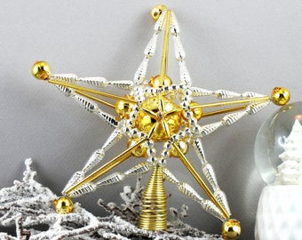Christmas tree Topper Star Czech glass Beaded ornament traditional blowing glass beads Christmas decorations, handmade christmas ornaments