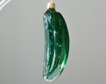 Czech glass Christmas ornaments pickle Cucumber traditional glass blowing Hand painted Christmas decorations, handmade christmas ornaments