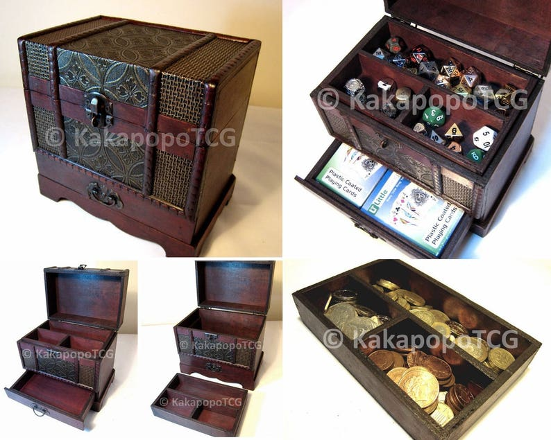Wooden Case Chest for Collectible Fantasy Coin Dice Counter Card Games  Board Games Poker Deck Dungeons and Dragons Wood Box Storage