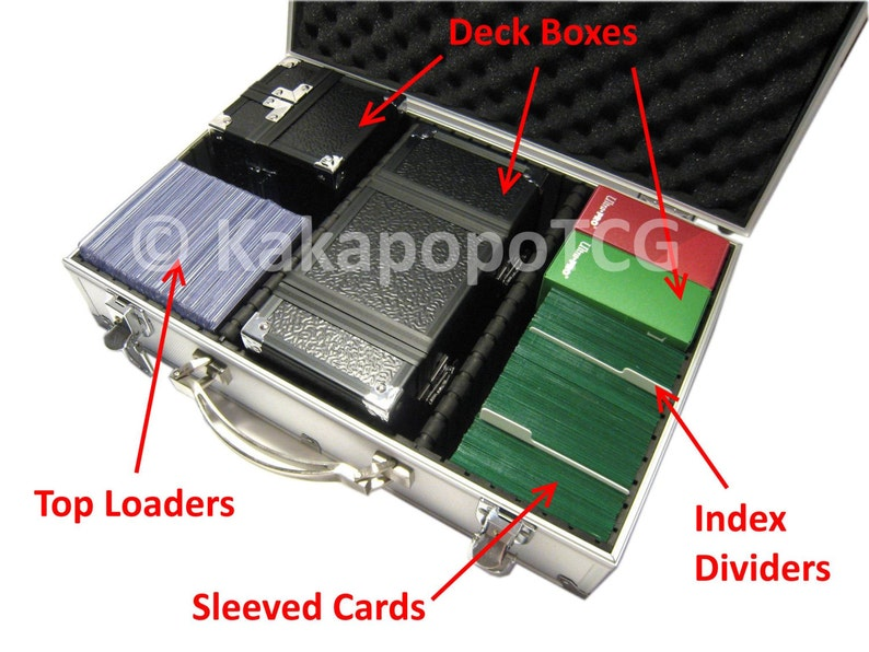 A4 Lockable Silver TCG Trading Card Storage Metal Case Magic MTG Yugioh  Pokemon Sport Deck Box Protector Vanguard Toploader Force of Will