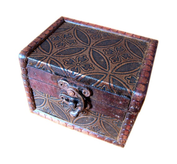 Aged Antique Style Wood Dice Box With Rusty Metal Parts And Etsy