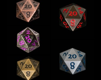 Metal Standard D20 Set of 5 Dice Extra Large Extra Heavy DND Dungeons and Dragons DnD5e Pathfinder Call of Cthulhu Tabletop RPG Dice Goblin