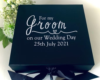 Groom Box | For My Groom On Our Wedding Day | Gorgeous Groom box | Wedding Day Box | Large Black Luxury Gift Box | Husband Gift