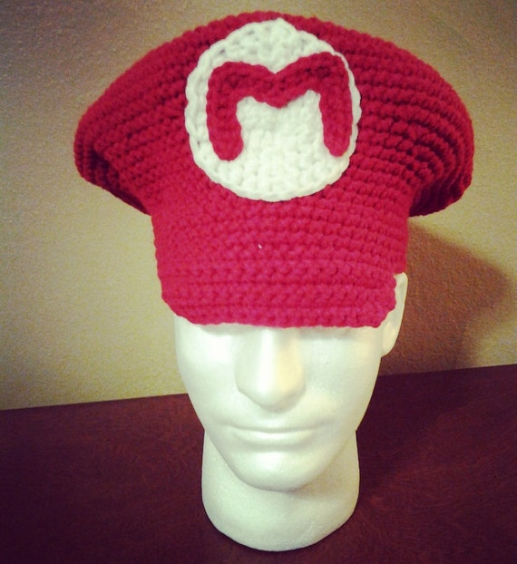 Mario Crochet Hat Mario Newsboy Cap Mario Bros Hat Gaming  03e94155587