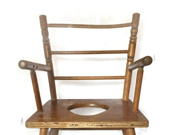 Antique Wooden Potty Chair, Toy High Chair, Potty Chair For Dolls, Shabby  Or Cottage Perfect!! Vintage Home Decor