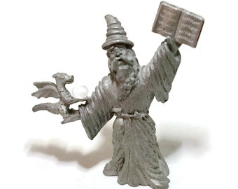Vintage Pewter Spoontiques Wizard and Dragon Figurine, Vintage Sorcerer Wizard Statue CMR 963, Mystical Wizard, Fantasy Gothic Decor