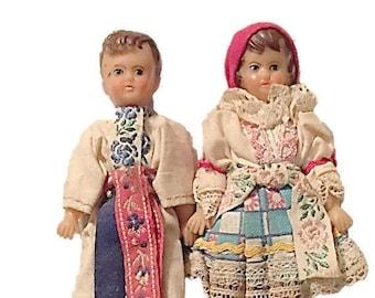 Vintage Czechoslovakian Dolls, Boy and Girl Souvenir Dolls, Traditional Czech Costumes, 1970