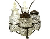 Vintage Cruet Set with 4 Cut Crystal Glass Bottles, Made in England by Eales of Sheffield, Silver Plated Holder