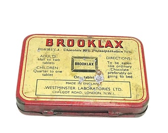 Vintage Original BROOKLAX Tin The British Chocolate Laxative 24 Tablet Empty Tin Box Made in England Collectible Box Collector's Item Mom