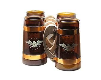 Vintage Siesta Ware Mugs with Eagle,  Amber Glass Root Beer Mug,  Military Patriotic Decor