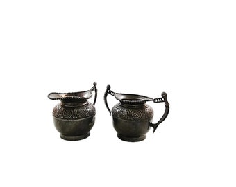 ANTIQUE Embossed Design Silver Cream and Sugar Set, Antique New York Silver, L'Allemand Silver Made in the USA, Embossed Silver Creamer