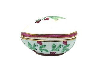Vintage Porcelain Trinket Box, Enesco Trinket Egg Box, Porcelain Gift Box, Holiday Box, Gift for Mom,  Vanity Decor