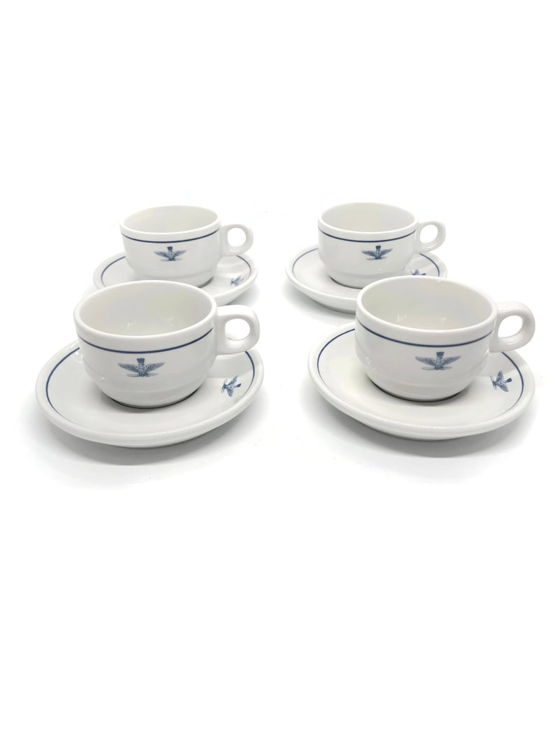 Espresso Cup and Saucer Set of 4 by Tognana for Italian Air Force Officer,  Made in Italy Aeronautica Militare