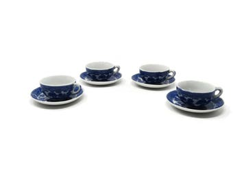 Child's Toy Cup and Saucer Set Blue Willow Set Made in Japan, 4 China Toy Cup and Saucers, Pretend Play Toy Set, Vintage Play Set