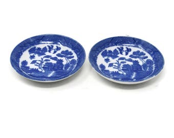 """Set of 2 Blue Willow Plates 3"""" Toy Child's Set, Blue Transferware Flo Blue Ironstone Toy Dishes, Pretend Play Toy Set, Vintage Play Set"""