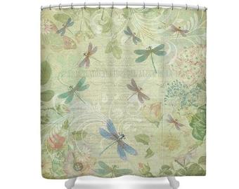 Yellow Bathroom, Yellow Shower Curtain, Dragonfly Shower Curtain, Dragonflies, Dragonfly Decor,Botanical Decor,Botanical Art,Pastel Bathroom