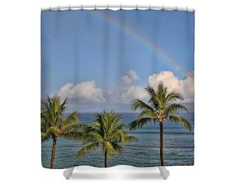 Rainbow Shower Curtain, Ocean Shower Curtain, Rainbow Decor, Palm Tree Shower Curtain, Bathroom Decor, Hawaiian Decor, Ocean Decor, Tropical