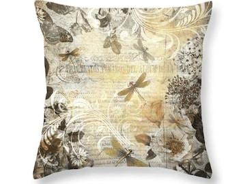 Dragonfly Pillow, Botanical Pillow, Gold Throw Pillow, Floral Throw Pillow, Vintage Theme Decor, Feminine Pillow, Neutral Throw Pillow