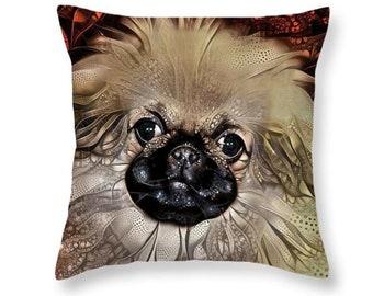 Pekingese Pillow, Pekingese Decor, Dog Home Decor, Dog Throw Pillow, Puppy Pillow, Dog Pillow Covers, Dog Lover Gift, Dog Cushion
