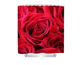 Rose Shower Curtain Red Roses Bathroom Decor DecorRose BathroomRose Flower