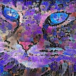 Cat Mom Gift, Cat Lover Gift, Cat Artwork, Cat Print, Cat Gift, Purple Art Print, Blue and Purple Art