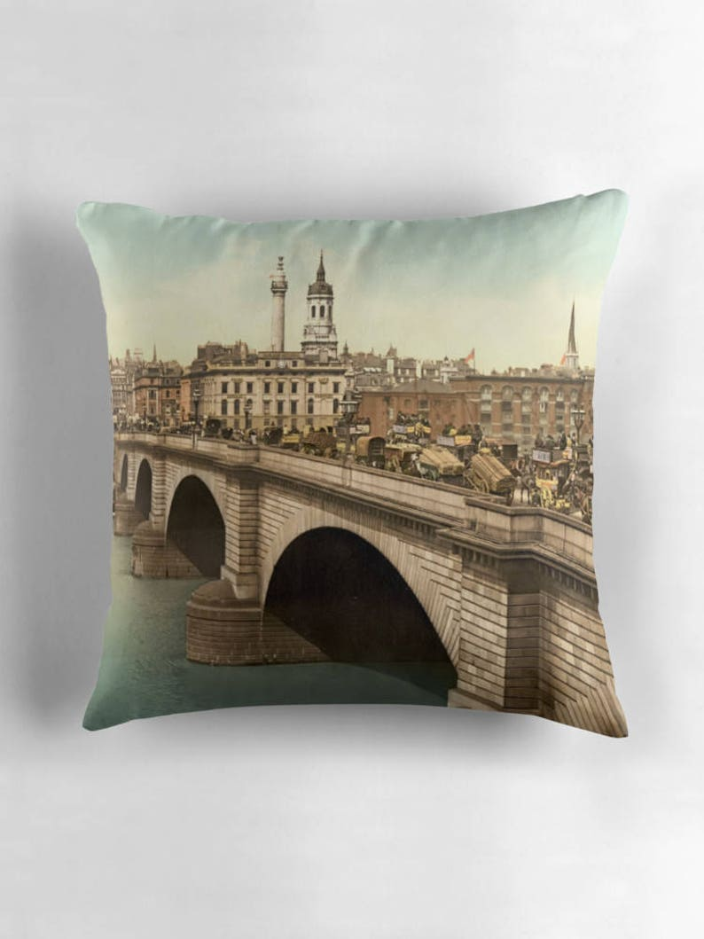 London Bridge London Pillow London Decor United Kingdom image 0