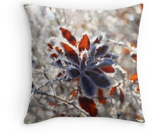 Winter Decor, Winter Throw Pillow, Christmas Cushion, Hoar Frost, Ice Photography, Nature Decor