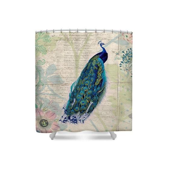 Peacock Shower Curtain Bird Bathroom